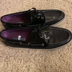 Sperry Top Siders with black sequins